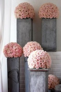 pink rose topiary decor events wedding party grand fetes from mariee magazine -BEAUTIFUL Design Floral, Deco Floral, Arte Floral, Floral Style, Topiary Decor, Trendy Wedding, Dream Wedding, Chic Wedding, Wedding Simple