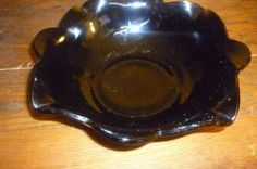 "VTG GLASS Big Bowl 10"" LEWIS LE SMITH Black amethyst MT PLEASANT Double shield"