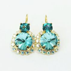 Aqua Blue Gold Earrings Teal AB Earrings Turquoise by TIMATIBO, $39.00