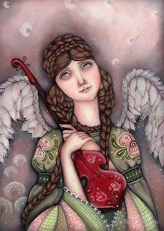 Pinzellades al món: Els àngels il·lustrats per Annika Hiltunen Illustrations, Illustration Art, Seraph Angel, Angel Artwork, Angel Guide, Angel Drawing, I Believe In Angels, Unicorns And Mermaids, Surrealism Painting