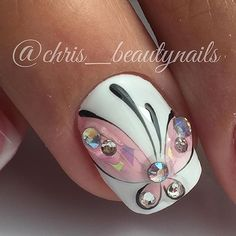 Cute Nail Art Ideas to Try - Nailschick Classy Nails, Fancy Nails, Diy Nails, Cute Nails, Pretty Nails, Butterfly Nail Designs, Butterfly Nail Art, Classy Nail Designs, Nail Art Designs