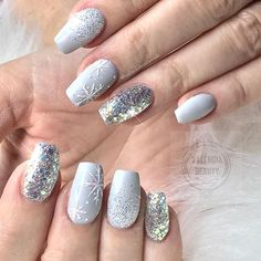 Top 10 Light Color Christmas Snowflake Coffin Nails in 2019 Nail art Hübscher Winter nails Art Design Inspirations 01 – – Winter Manicure Trendy Winter Nail Art Design, Trends&Photo Ideas of Winter Nail Design Xmas Nails, Holiday Nails, Christmas Acrylic Nails, Grey Christmas Nails, Christmas Snowflakes, Winter Christmas, Chrostmas Nails, Winter Acrylic Nails, Grey Gel Nails