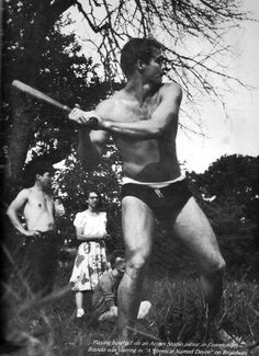Marlon Brando playing baseball at the Actor's Studio picnic during his time on Broadway in the play A Streetcar Named Desire. #Brando #baseball