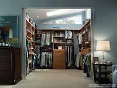 Closet and Wardrobe Designs. Awesome small minimalist blue-scheme walk-in closet design with cool wooden storage system. Fancy Dream Home Interior Walk-in Closet Designs Master Closet Design, Walk In Closet Design, Master Bedroom Closet, Bedroom Wardrobe, Wardrobe Closet, Wardrobe Design, Closet Designs, Master Bedrooms, Design Bedroom