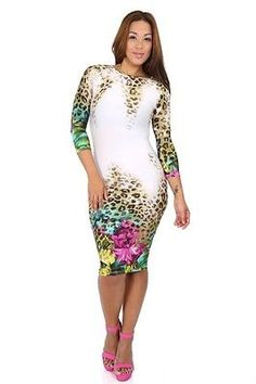 New White Floral And Animal Print Mixed Bodycon Dress Size Small
