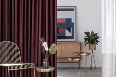 Find your inspiration in this glam interior design! Accessorized with golden accents and a pinch of burgundy. Burgundy Curtains, Beautiful Curtains, Home Decor Inspiration, Finding Yourself, Interior Design, Nest Design, Home Interior Design, Interior Designing, Home Decor
