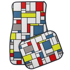 Mondrian style design car mat - artists unique special customize presents