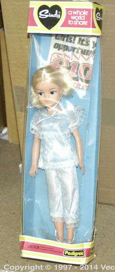 Pedigree Sindy boxed Doll. Wearing blue night clothes in a Whole World to Share box. Condition is Near Mint in Good (writing and loose cellophane) box.