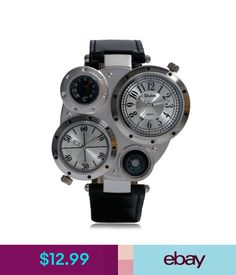 Wristwatches Cool Military Army Dual Time Zones Movements Watch Big Dial Leather Sports Mens #ebay #Fashion