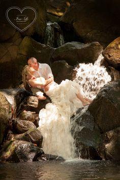 Wedding on the waterfall - trash the dress sexy wedding kauai Hawaii beach wedding