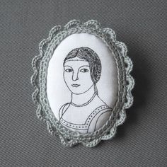 Crochet Lace and Fabric Cameo Brooch