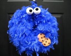 Feather Cookie Monster wreath