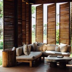 Cambodia by Original Senses Tropical House Design, Tropical Houses, Wood Headboard, Headboards, Wooden Bath, Lush Garden, Window Frames, Handmade Furniture, Outdoor Furniture