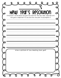 Free Printable New Year's Resolution - has a place for kids to write their resolutions and draw a picture of it