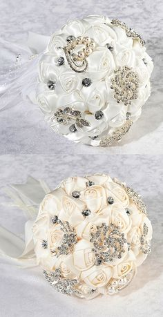Lillian Rose Crystal Flower Bouquet with Ivory or White Satin Roses