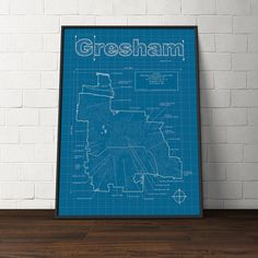 Gresham, Oregon Map - Blueprint Style. Modern graphic design and traditional blueprint style come together to create these original artwork maps. Highlights include streets, highways, water features and points of interest unique to each city. Hand signed and numbered, every map is a one of a kind conversation starter for your home or office. Share the story of your favorite adventure or be inspired to start your next one. All maps are printed on premium heavyweight semi-matte paper with…