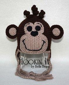 Brown Monkey Crocheted Hat