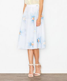 Look what I found on #zulily! Blue & White Floral A-Line Skirt #zulilyfinds