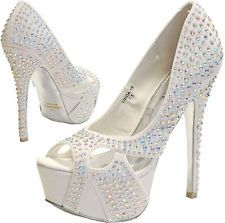 New women's shoes evening stilettos peep toe blink rhinestone prom wedding white