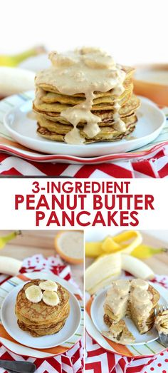 Make these peanut butter pancakes with just 3-ingredients. They're low fat and high protein because they call for peanut flour, not peanut butter!