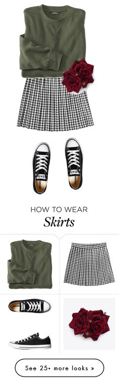 """Skirt and Sweater"" by sashasawesome on Polyvore featuring Mode, Monki und Converse"