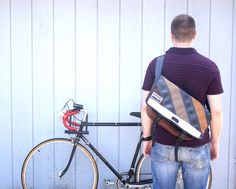Vaya Bags Petite Bike Tube & Diagonal Stripe Messenger Bag!  #cycling #messenger #bag #style #bike #bikecommute #biking #bicycling #fashion #handmade #nymbco #vaya #bags