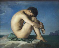 Жан Ипполит Фландрен «Юноша, сидящий на берегу моря» (1836) Jean-Hippolyte Flandrin