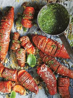 Hasselback sweet potatoes are a year round favourite. Combine them with a tangy, basil salsa verde for the ultimate side dish to a Sunday roast. Side Dish Recipes, Vegetable Recipes, Vegetarian Recipes, Cooking Recipes, Healthy Recipes, I Love Food, Good Food, Yummy Food, Tasty