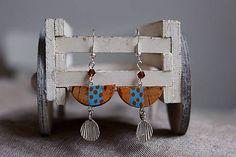 Martinuska / Polkruhy s bodkam/cork earrings