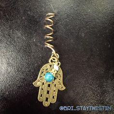 """Turquoise Fatima""  $15USD  Loc coil with dangling #handoffatima #hamsa hand adornment and turquoise bell    #loccoils #bristaytwistin #locsbylo #handmadeaccessories #handmadewithlove #handmadejewelry #hairjewelry #internationalshipping"