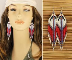 CUSTOM ORDER for Ruth Handmade Native American Style Seed Bead Earrings ♥ SIZE Length: 4 3/4 (12 cm) with ear hook Width: 1 1/8 (3 cm) ♥Weight super light weight (5g each) ♥ UPGRADE AVAILABLE! *925 Sterling Silver or 14K Gold Filled Ear Hooks