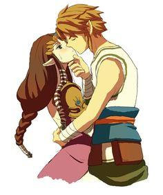 Link and Zelda kiss