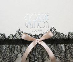 Bardot lace garter with silk and swarovski от florriemitton