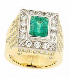 SMARAGD-DIAMANT-RING, Damenring GG/WG750 mit zentralem Smaragd 2.50 ct, umrahmt von 86 Brillanten H