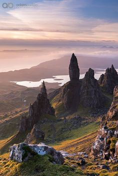 Sunrise over the Old Man of Storr on the Isle of Skye, Scotland, UK. Autumn (November) 2015.