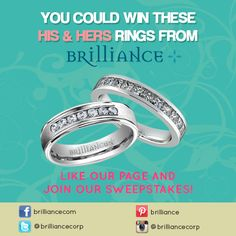 "Get a chance to win this sparkling ""His & Hers"" wedding ring set which includes the Princess Channel Diamond Wedding Ring in White Gold (For Her -- Retail Price: $3,487.00) and Channel Diamond Ring in White Gold (For Him -- Retail Price: $3,625.00)! All you need to do is like our page and enter the sweepstakes  on https://www.facebook.com/brilliancecom?sk=app_342579195819956_data=contest%2Fsweepstake%3A16369  ..good luck, everyone! :)"