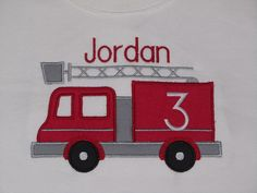 Personalized Birthday Shirt Fire Truck Number by PerryWinklesEmb