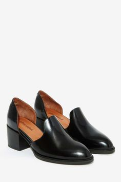 Jeffrey Campbell Appeal Leather Loafer - Flats | Flats Leather Heeled Boots, Leather Mules, Black Leather Shoes, Leather Loafer Shoes, Loafer Flats, Heeled Loafers, Oxfords, Sock Shoes, Shoes Heels