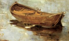 rowboat on a lake 1889 oil on canvas 28x43.5cm,Helene Schjerfbeck