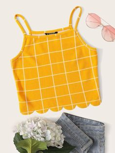 Scallop Trim Grid Cami Top – Source by Official_Romwe – - Mode pour enfants Teenage Girl Outfits, Teen Fashion Outfits, Teenager Outfits, Outfits For Teens, Trendy Outfits, Teenage Clothing, Clothing Ideas, Cute Tank Tops, Cami Tops