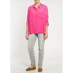 Buy Medium Pink Violeta by Mango Lightweight Boxy Blouse from our Women's Shirts & Tops range at John Lewis & Partners. Cropped Trousers, Blouse Online, Off Duty, Mango, Denim, Sleeves, Pink, Shirts, Stuff To Buy
