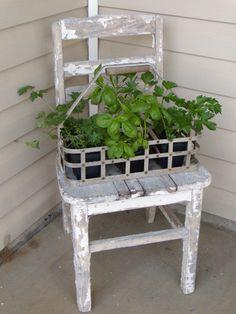 Old farmhouse chair + antique milk bottle basket = great little summer herb garden!