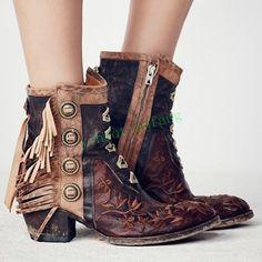 65683236c11ea6 Retro Roman Women Military Punk Suede Block Heels Ankle Boot Tassels Shoes  Vogue Fringe Boots