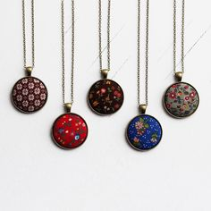 Bohemian Wedding, Floral Jewelry Vintage Fabric Necklace Bridesmaid Gift Set of 5 Necklaces, Boho Jewelry Brown, Blue, Red by TheWhirlwind on Etsy https://www.etsy.com/listing/167825652/bohemian-wedding-floral-jewelry-vintage