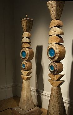 Totem Lamps by Bernard Rooke … Garden Totems, Garden Art, Garden Whimsy, Garden Junk, Garden Sheds, Glass Garden, Garden Design, Outdoor Sculpture, Outdoor Art
