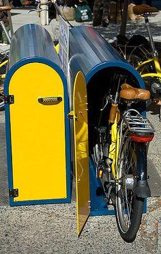 bike locker in 2020 Bicycle Storage Shed, Outdoor Bike Storage, Bike Storage Rack, Bike Shed, Bike Storage For Outside, Bike Storage Design, Bike Locker, Bike Storage Apartment, Vertical Bike Rack