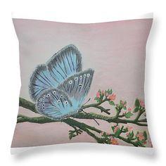 "Amandas Blue Dream Throw Pillow 14"" x 14"""