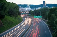 Interstate 84 westbound into Portland at dusk