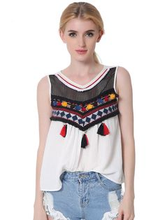 ec27586930dc Summer fashion Embroidery Tassels Blouse tops Women shirt Casual cotton  sleeveless blusa feminina Plus size women s clothes Like if you remember  Visit us