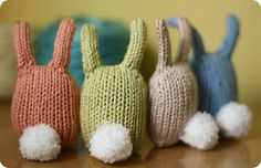 I finished these little guys the other day to put in the kids baskets along with the toys and candy they're getting from the Easter Bunny. Knitted Stuffed Animals, Weaving For Kids, Easter 2020, Softies, Easter Bunny, Knitted Hats, Knit Crochet, Organic Cotton, Bunnies